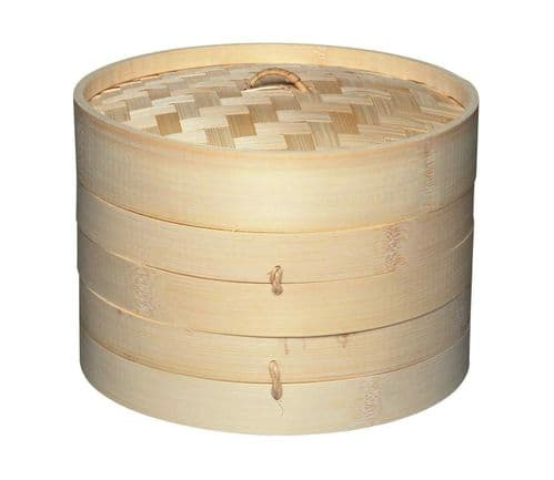 KitchenCraft World of Flavours Oriental Two Tier Bamboo Steamer and Lid 20cm